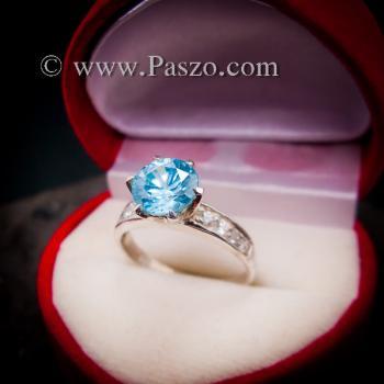 แหวนบูลโทพาซ แหวนชูพลอย แหวนเงินแท้ #2