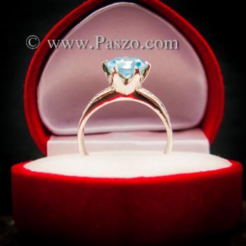 แหวนบูลโทพาซ แหวนชูพลอย แหวนเงินแท้ #3