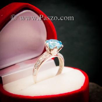 แหวนบูลโทพาซ แหวนชูพลอย แหวนเงินแท้ #4