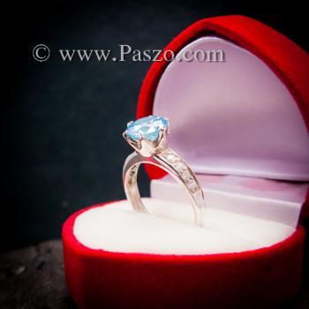 แหวนบูลโทพาซ แหวนชูพลอย แหวนเงินแท้ #5
