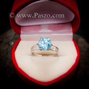 แหวนบูลโทพาซ แหวนชูพลอย แหวนเงินแท้ #6