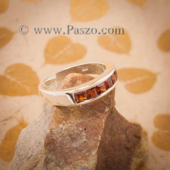แหวนโกเมน แหวนเงินแท้ ฝังพลอยโกเมน #2