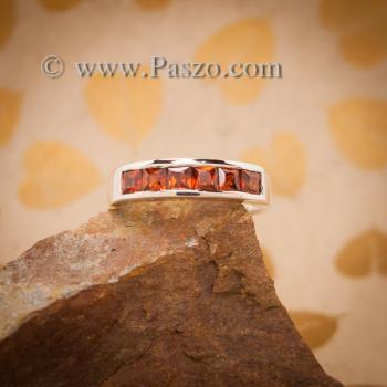 แหวนโกเมน แหวนเงินแท้ ฝังพลอยโกเมน #3