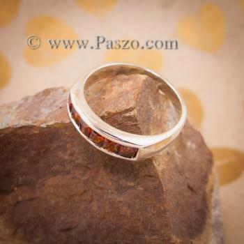 แหวนโกเมน แหวนเงินแท้ ฝังพลอยโกเมน #4