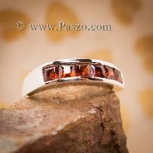 แหวนโกเมน แหวนเงินแท้ ฝังพลอยโกเมน เม็ดเหลี่ยม แบบแถวเดี่ยว