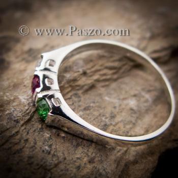 แหวนพลอยสามเม็ด พลอยเม็ดกลม แหวนเงินแท้ #2