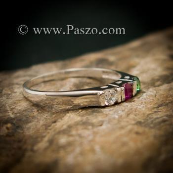 แหวนพลอยสามเม็ด พลอยเม็ดกลม แหวนเงินแท้ #4
