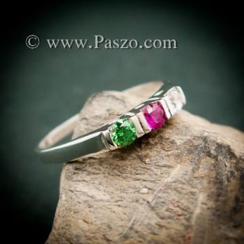 แหวนพลอยสามเม็ด พลอยเม็ดกลม แหวนเงินแท้ #7