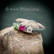 แหวนพลอยสามเม็ด พลอยเม็ดกลม แหวนเงินแท้ แหวนขนาดเล็ก