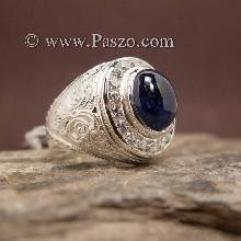 แหวนสลักลายไทย ล้อมเพชร แหวนผู้ชายไพลิน แหวนพลอยไพลิน พลอยสีน้ำเงิน แหวนผู้ชาย