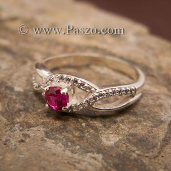 แหวนดวงตา แหวนพลอยสีแดง แหวนเงินแท้ #2