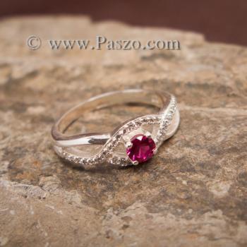 แหวนดวงตา แหวนพลอยสีแดง แหวนเงินแท้ #3