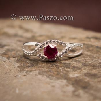 แหวนดวงตา แหวนพลอยสีแดง แหวนเงินแท้ #4