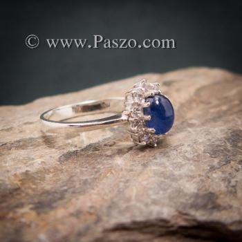 แหวนไพลินแท้ล้อมเพชร แหวนพลอยสีน้ำเงิน แหวนพลอยไพลิน #2