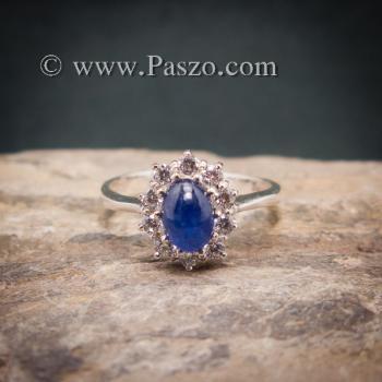 แหวนไพลินแท้ล้อมเพชร แหวนพลอยสีน้ำเงิน แหวนพลอยไพลิน #3