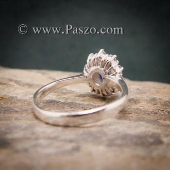 แหวนไพลินแท้ล้อมเพชร แหวนพลอยสีน้ำเงิน แหวนพลอยไพลิน #4