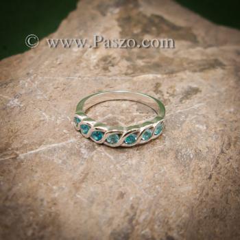 แหวนพลอยสีฟ้า แหวนเงินแท้ แหวนพลอยแถว #3