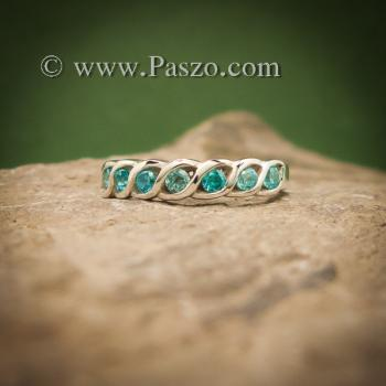 แหวนพลอยสีฟ้า แหวนเงินแท้ แหวนพลอยแถว #4