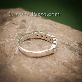 แหวนพลอยสีฟ้า แหวนเงินแท้ แหวนพลอยแถว #2