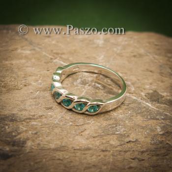 แหวนพลอยสีฟ้า แหวนเงินแท้ แหวนพลอยแถว #5