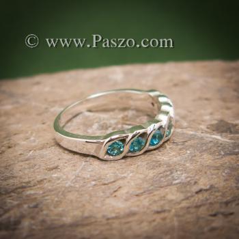 แหวนพลอยสีฟ้า แหวนเงินแท้ แหวนพลอยแถว #6