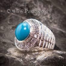 แหวนโรเล็กซ์ แหวนเทอร์ควอยซ์ แหวนผู้ชาย เทอร์ควอยซ์ ล้อมเพชร