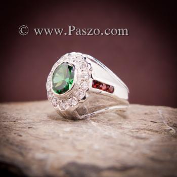 แหวนเงินผู้ชาย พลอยสีเขียวมรกต ล้อมเพชร #4
