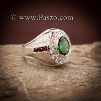 แหวนเงินผู้ชาย พลอยสีเขียวมรกต ล้อมเพชร #5