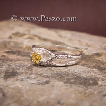 แหวนสีเหลือง แหวนบุษราคัม บ่าเพชร #2