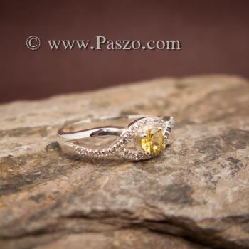 แหวนสีเหลือง แหวนบุษราคัม บ่าเพชร #3