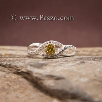 แหวนสีเหลือง แหวนบุษราคัม บ่าเพชร #4