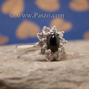 แหวนนิลล้อมเพชร แหวนเงินแท้ แหวนนิลวงเล็ก #2