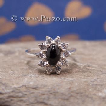 แหวนนิลล้อมเพชร แหวนเงินแท้ แหวนนิลวงเล็ก #3