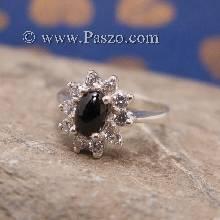 แหวนนิลล้อมเพชร แหวนเงินแท้ แหวนนิลวงเล็ก แหวนพลอยสีดำ