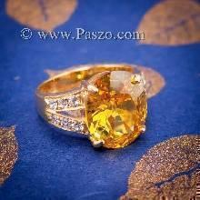 แหวนบุษราคัม แหวนทองแท้ ทอง90 ฝังพลอยสีเหลือง บุษราคัม บ่าแหวนฝังเพชร