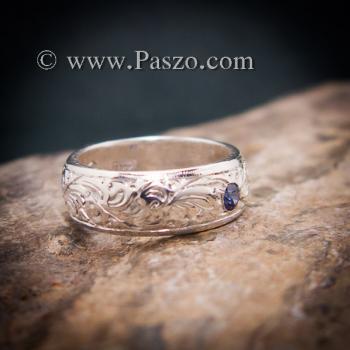 แหวนลายไทย แหวนเงินแท้ พลอยไพลิน #2