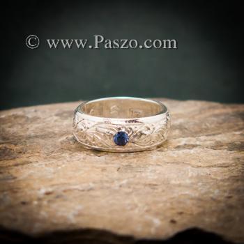 แหวนลายไทย แหวนเงินแท้ พลอยไพลิน #3