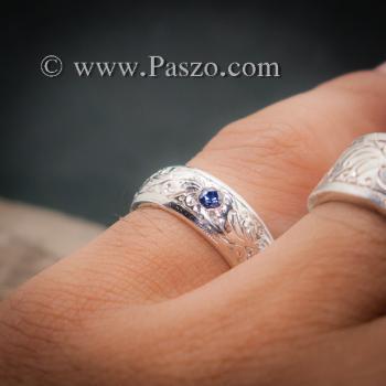 แหวนลายไทย แหวนเงินแท้ พลอยไพลิน #4