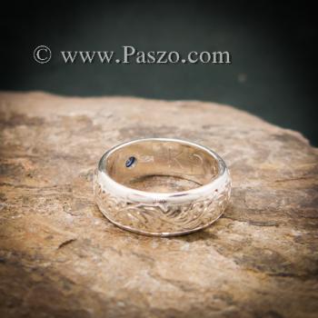 แหวนลายไทย แหวนเงินแท้ พลอยไพลิน #5