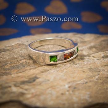 แหวนแถว ฝังทับทิม เขียวมรกต #3