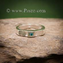 แหวนพลอยสีฟ้า แหวนเงิน พลอยสีฟ้า บูลโทพาซ เม็ดเล็ก แหวนรุ่นเล็ก