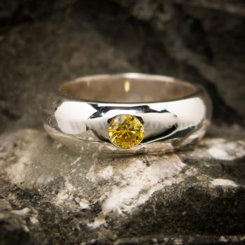 แหวนสีเหลือง แหวนเงินแท้ แหวนเกลี้ยงฝังพลอย #2