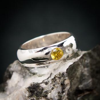แหวนสีเหลือง แหวนเงินแท้ แหวนเกลี้ยงฝังพลอย #3