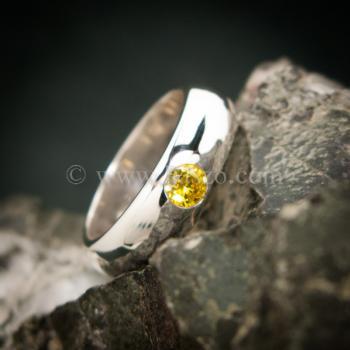 แหวนสีเหลือง แหวนเงินแท้ แหวนเกลี้ยงฝังพลอย #4