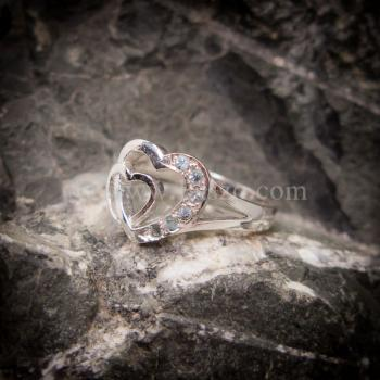 แหวนอความารีน แหวนเงิน แหวนหัวใจคู่ #2