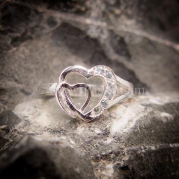 แหวนอความารีน แหวนเงิน แหวนหัวใจคู่ #4