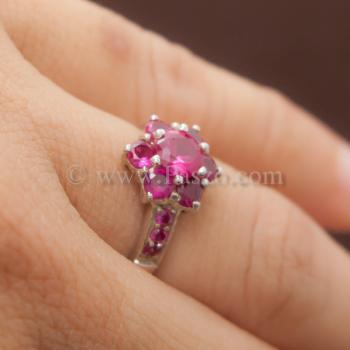 แหวนทับทิม แหวนเงินแท้ พลอยสีแดง #2
