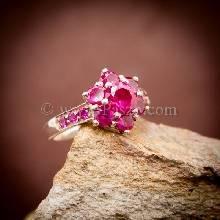 แหวนทับทิม แหวนเงินแท้ พลอยสีแดง แหวนดอกพิกุล แหวนพลอยสีแดง
