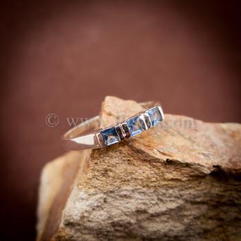 แหวนพลอยสีน้ำทะเล อความารีน แหวนเงินแท้ #5