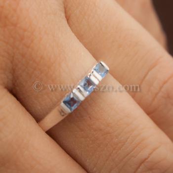 แหวนพลอยสีน้ำทะเล อความารีน แหวนเงินแท้ #6